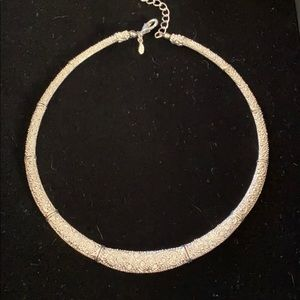Chrystal Encrusted Silver Collar Necklace